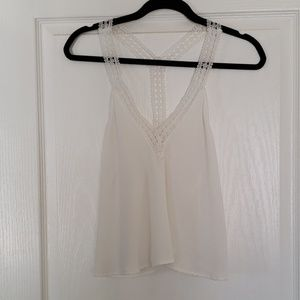 White VNeck blouse with flower lace strap details